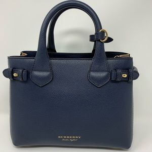 Burberry Small Banner Leather Ink Blue Tote